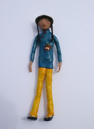 Cheongsam Su, polymer clay art doll, 11h x 3.5w x2d