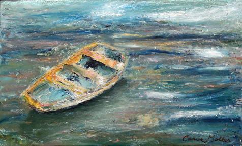 Adrift, oil/cold wax