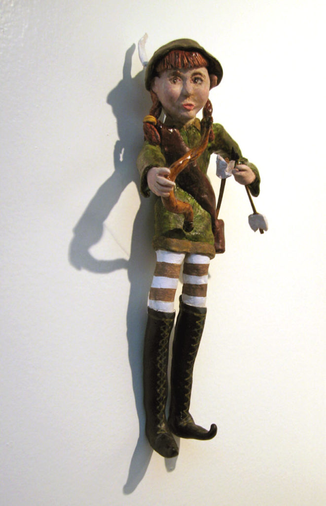 Petra Pan, polymer clay wall doll,13h x 4.5w x 2d tall