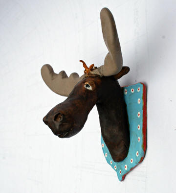 Alistair, polymer clay moose trophy 4.5 x 4.5