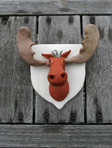 Angus, polymer clay moose trophy 4.5h x 5.5w (Indie Banditas)